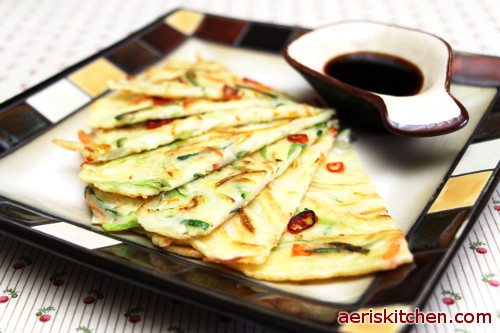 Vegetable jeon aeris kitchen serve the pancakes with the dipping sauce if you keep the leftover pancakes in the refrigerator you can reheat them in a toaster oven on the stove forumfinder Gallery